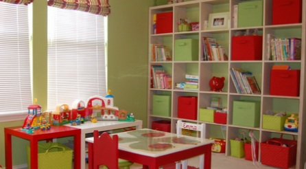 An organized Playroom promotes creativity and growth. Color coordinated playroom